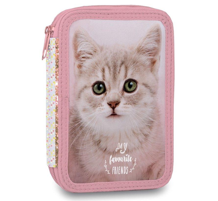 Etui kat roze gevuld - stip