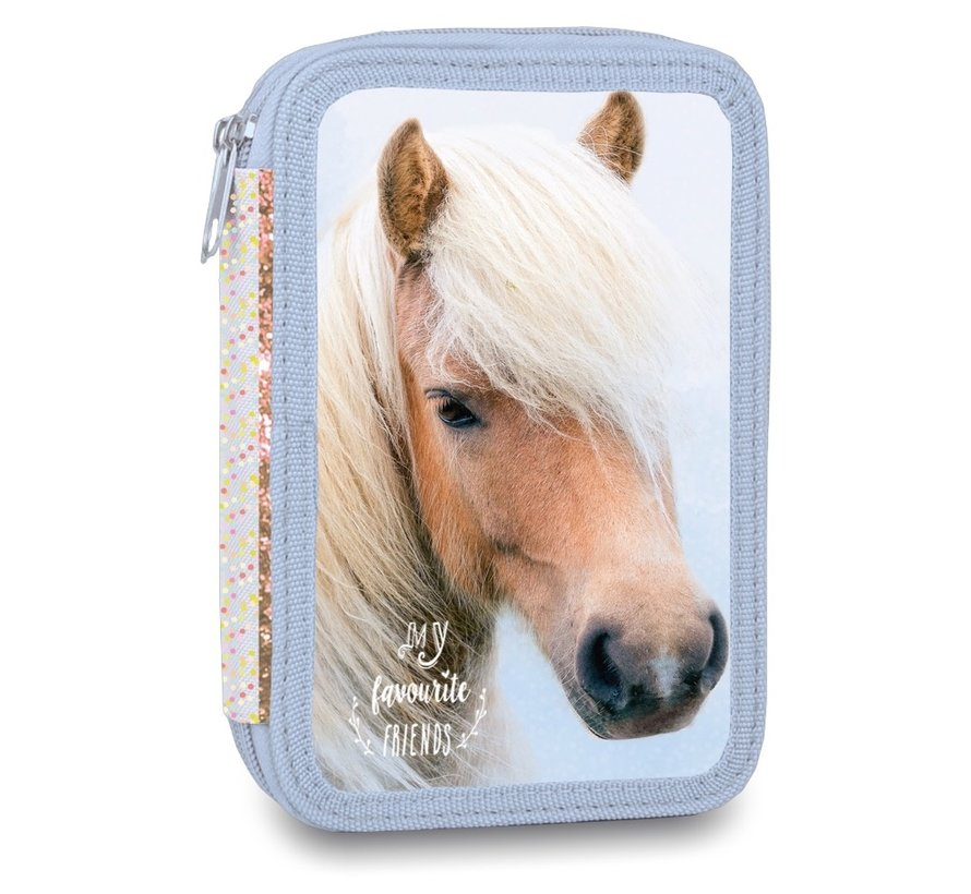 Etui paard blauw gevuld