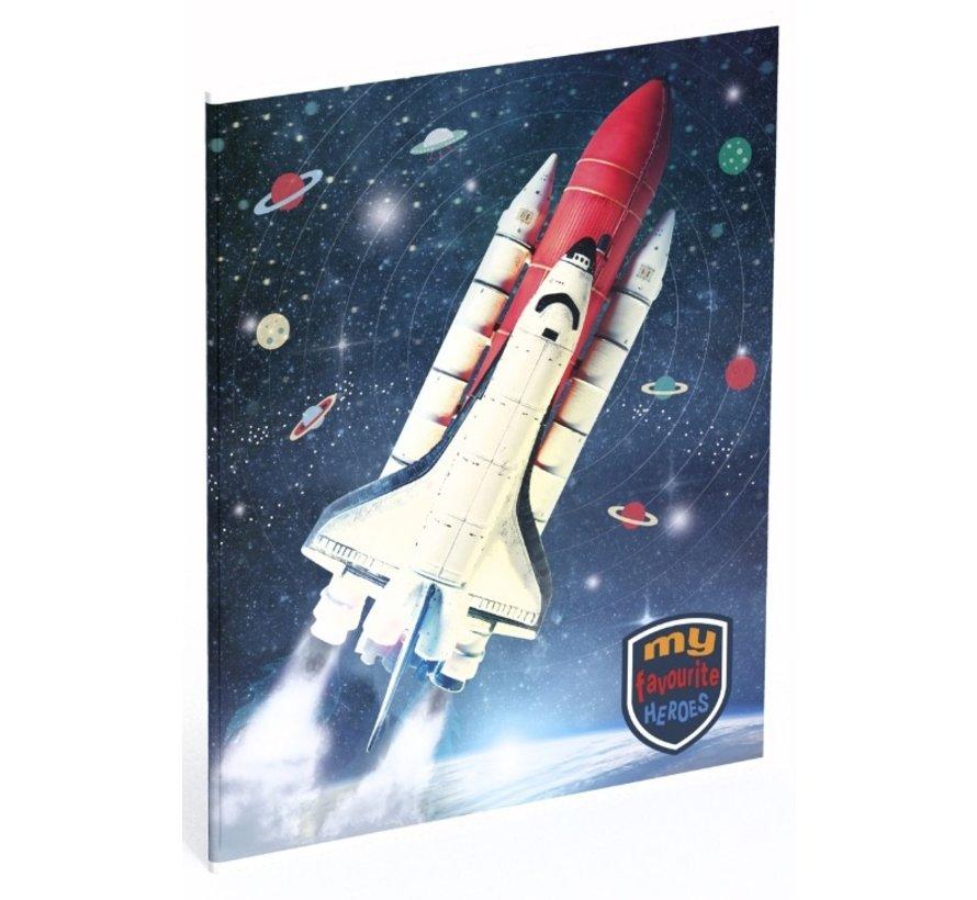 A5 Lijntjes schrift - space shuttle