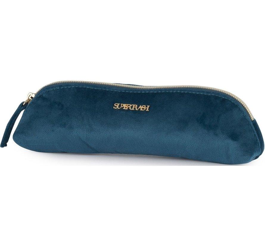 Driehoekig schooletui - blauw velours