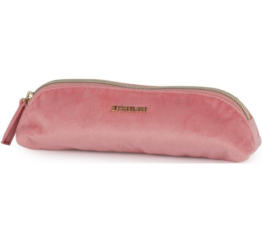 Driehoekig schooletui - roze velours