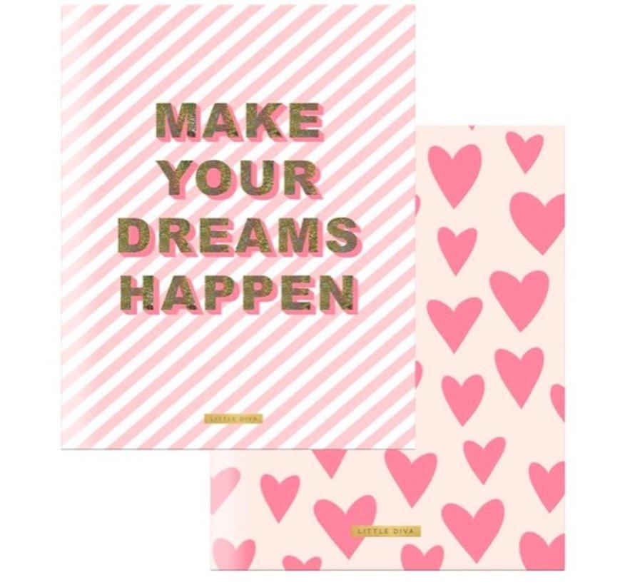 A5 lijntjes schriften roze