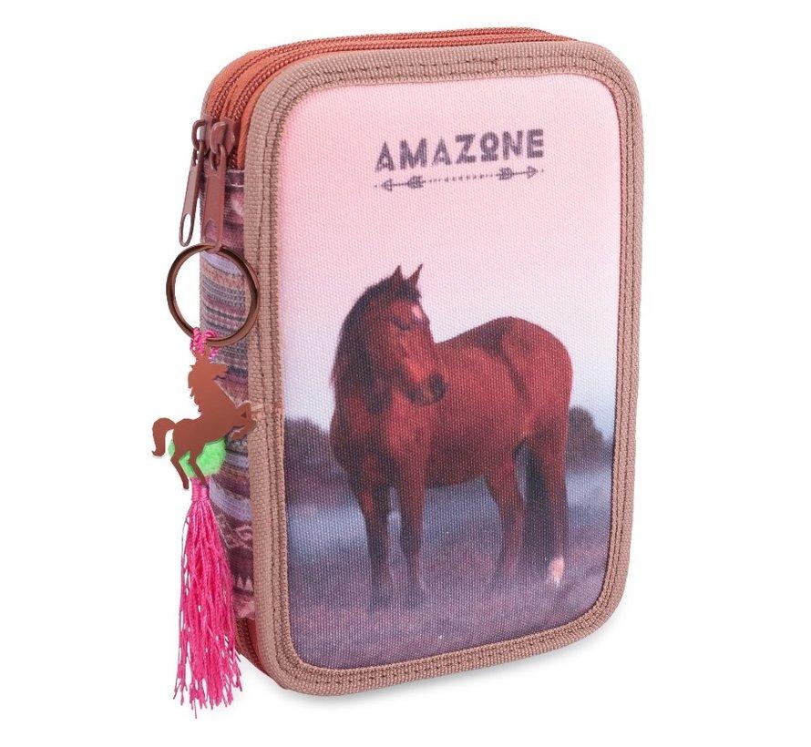 Etui paard paars gevuld - bruin