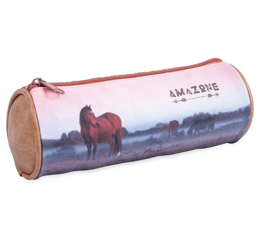 Paarden etui rond - bruin