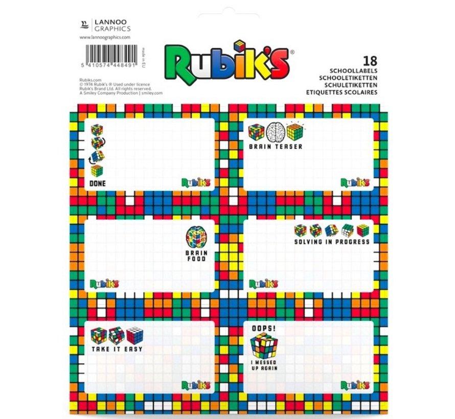 Schooletiketten - 18 kaftstickers met Rubik's Cube