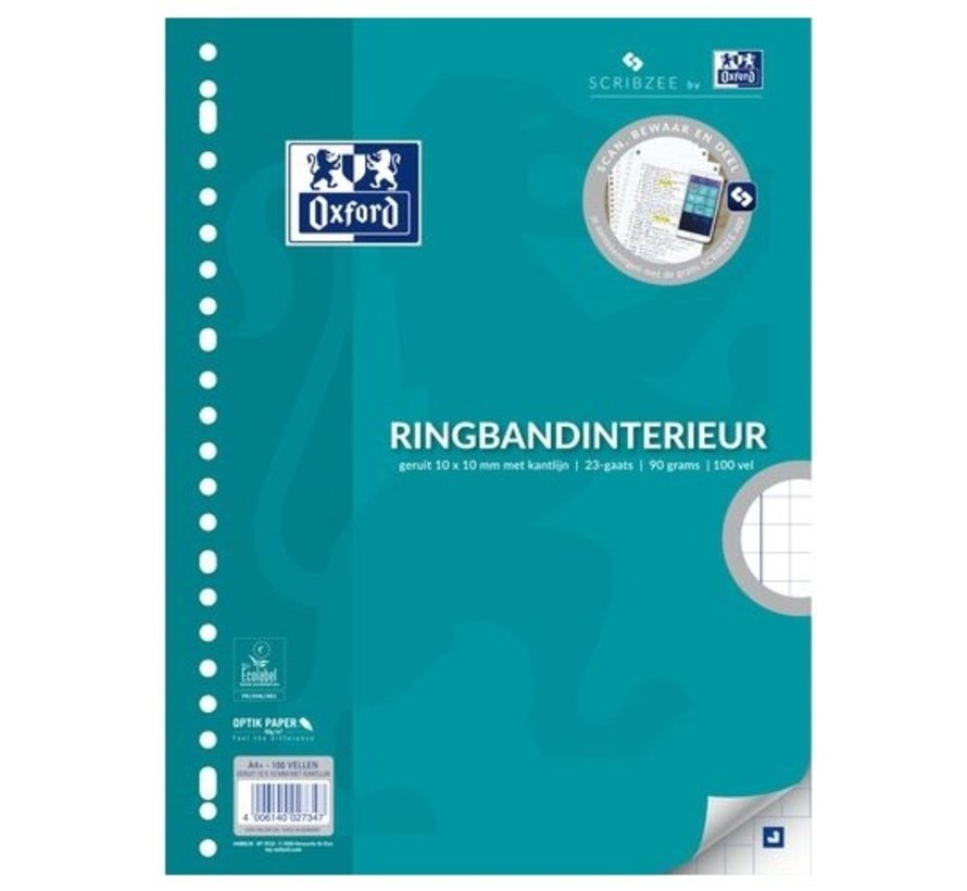 Ringband papier - geruit 10mm