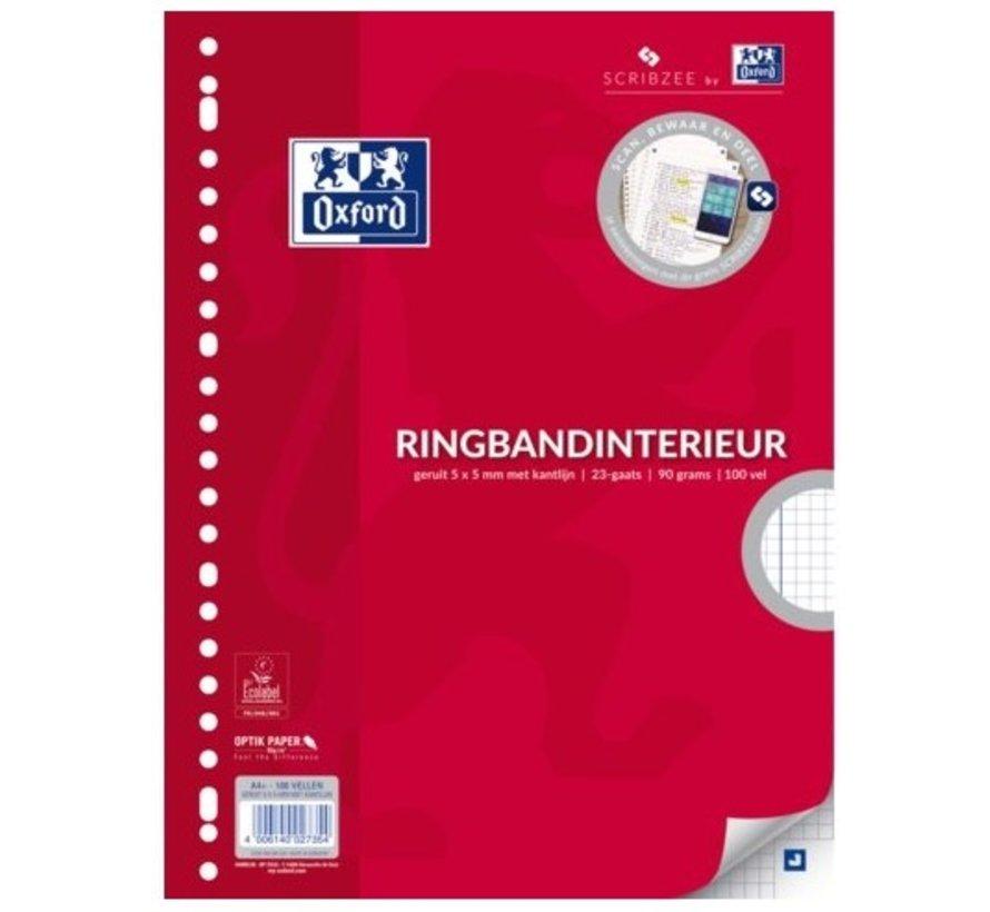 Ringband papier - geruit 5mm