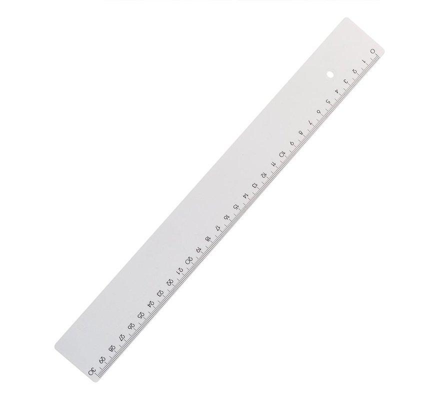 Liniaal stevig - wit 30cm