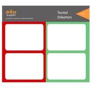 Dresz Textiel etiketten - rood/groen