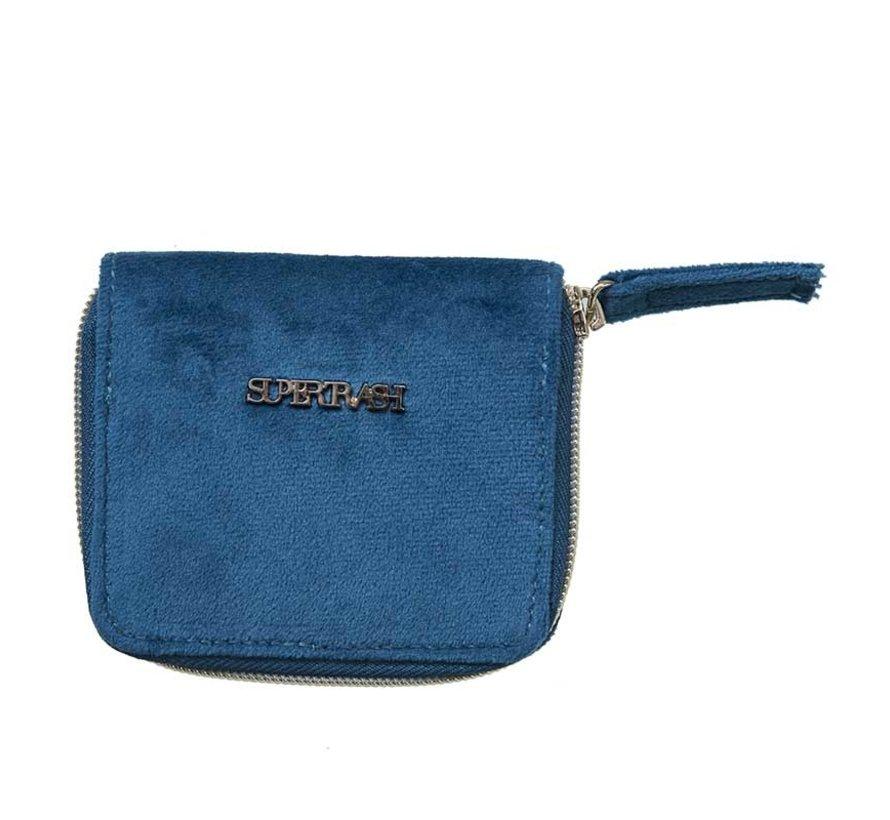 Portemonnee - blauw velours