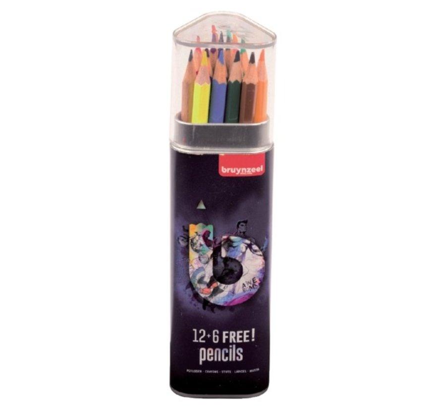 Teens kleurpotloden - koker blauw 12+6