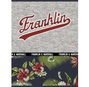 Franklin & Marshall A4 ruitjes schrift - flowers donker