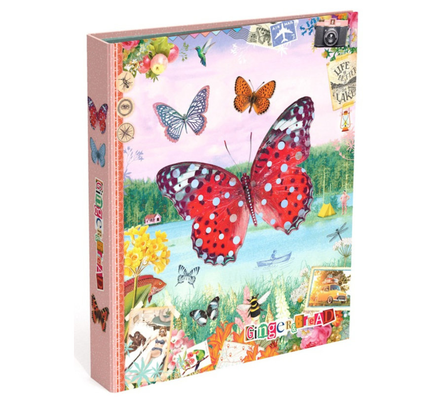 Ringband 23r - vlinder - roze