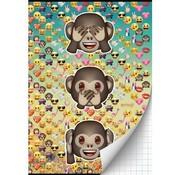 Emoji A4 ruitjes schrift - aapjes