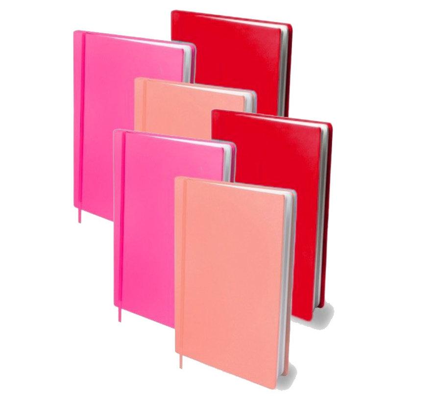 Voordeelpak rekbaar kaft H - A4 rood/roze 6x