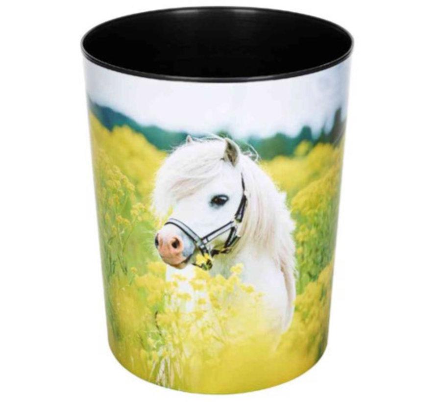 Prullenmand - paard wit