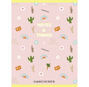 Fashionchick A4 ruitjes schrift - notes & things roze