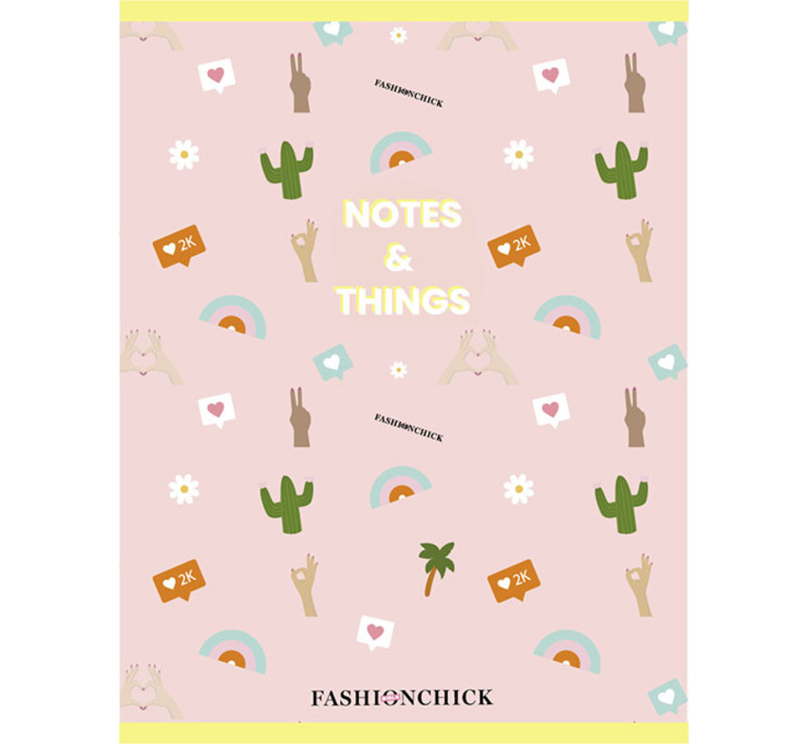 A4 schrift geruit - notes & things roze