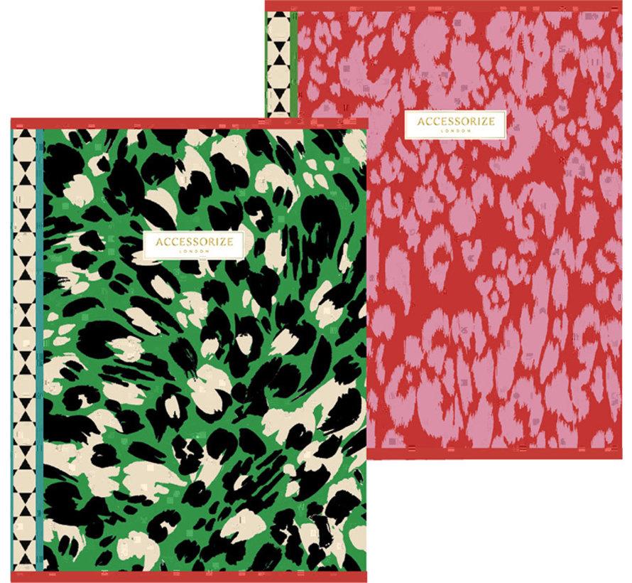 Fashion A5 lijntjes schriften - red/green