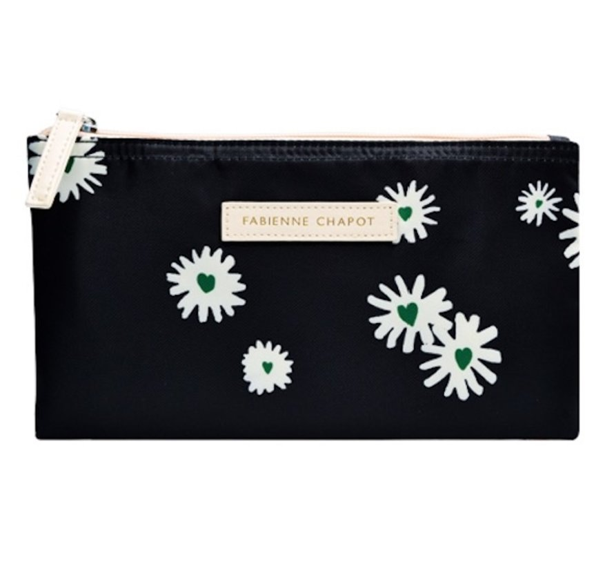 Schooletui - zwart daisies