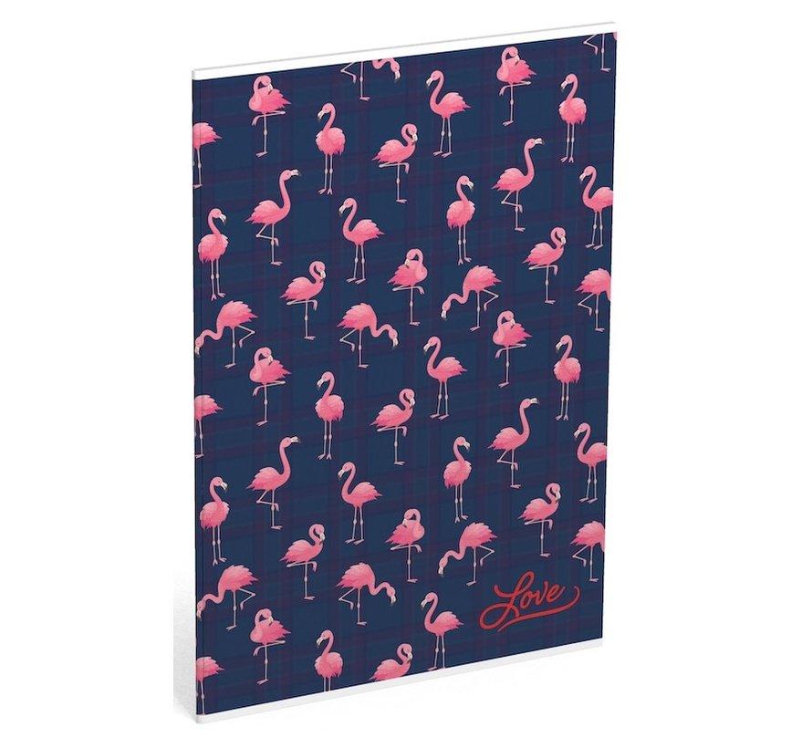 Gelinieerd A4 schrift met flamingo print
