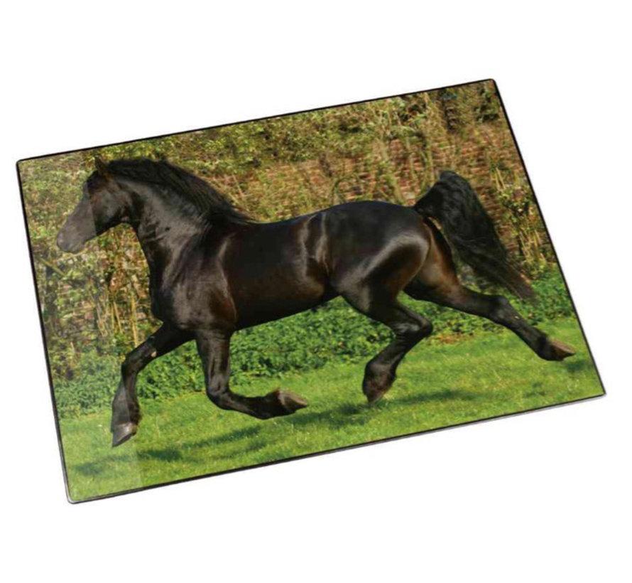 Buro onderlegger / deskmat - paard zwart