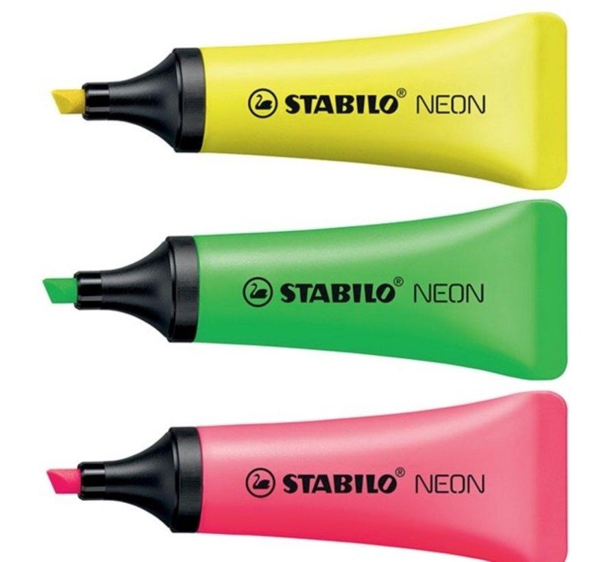 Tube markeerstiften, netje met 3 neon markers