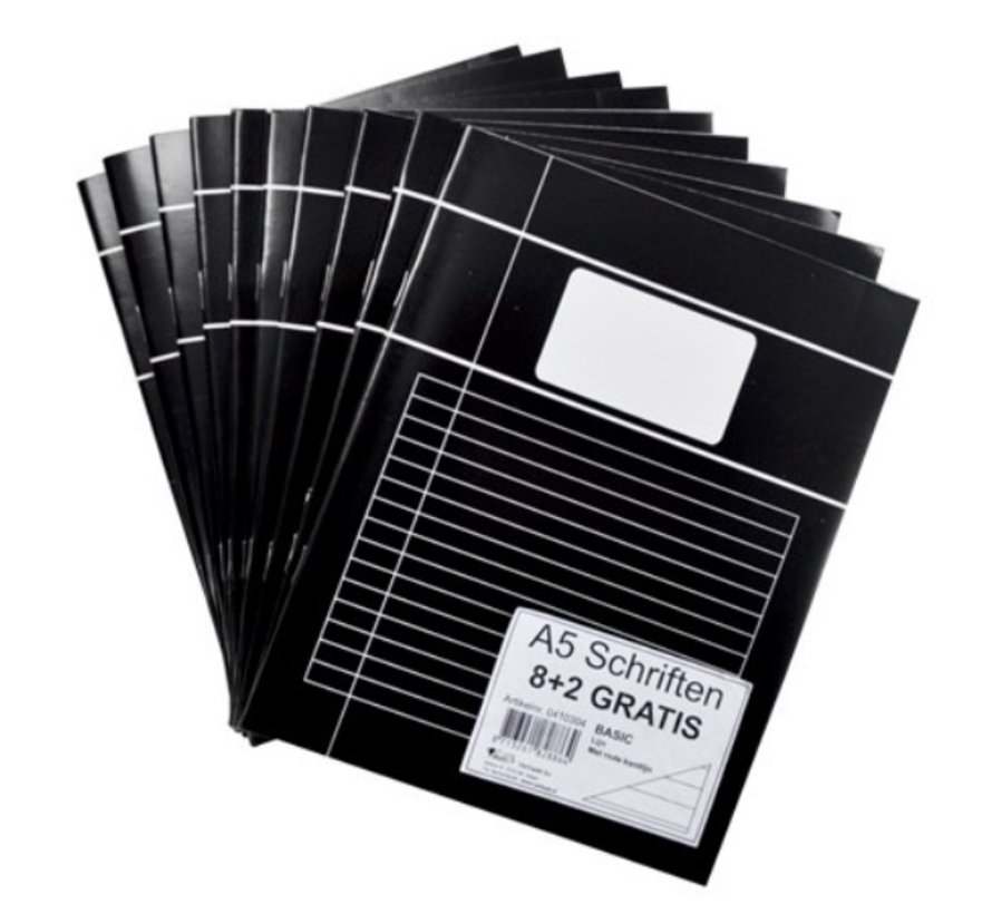 4+1 Lijntjes schrift A4 - voordeelpak zwart