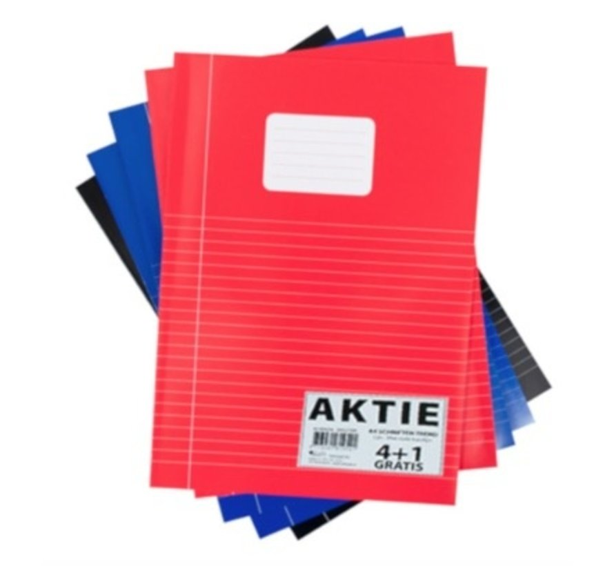 4+1 Lijntjes schrift A4 - voordeelpak gekleurd