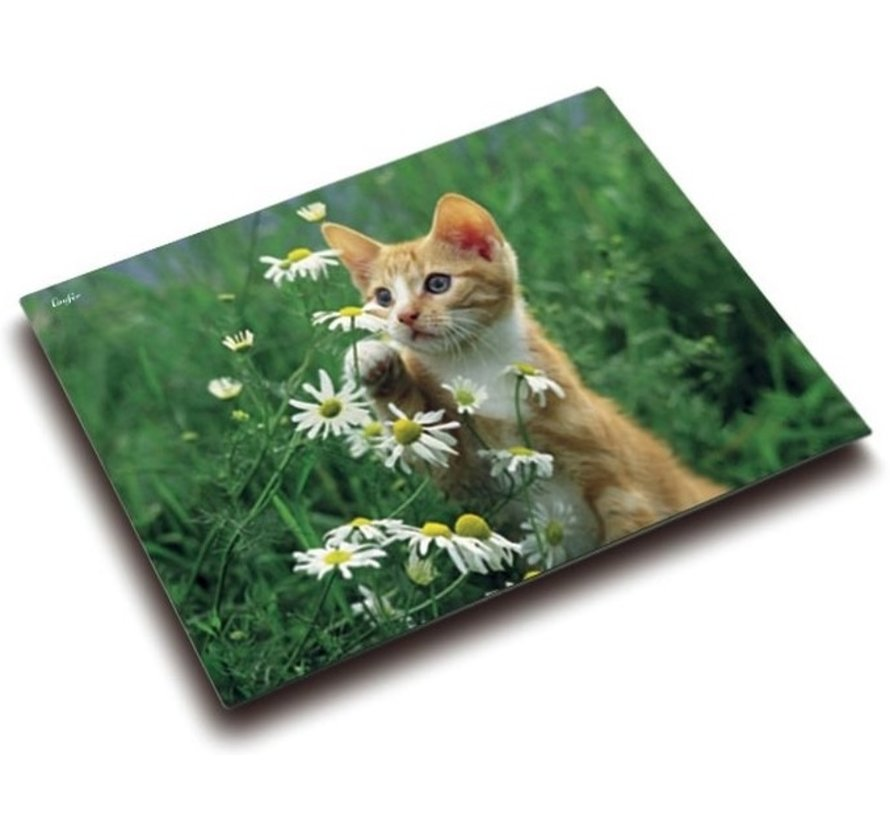 Bureaumat / schrijf onderlegger - kat bloemen