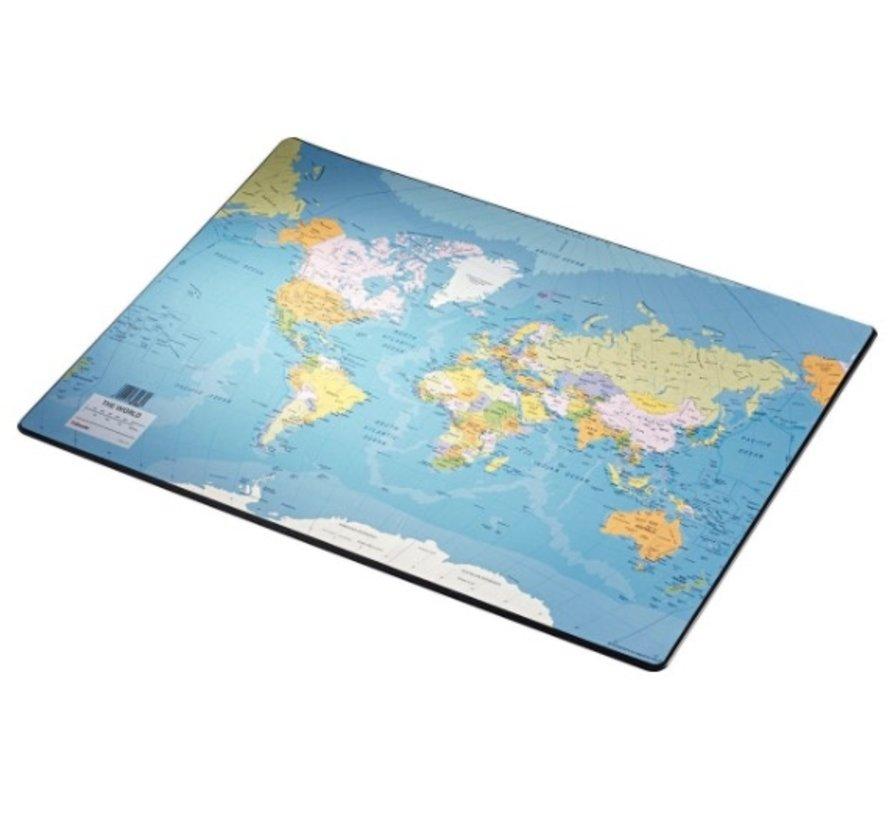 Bureaumat / schrijf onderlegger - wereldkaart