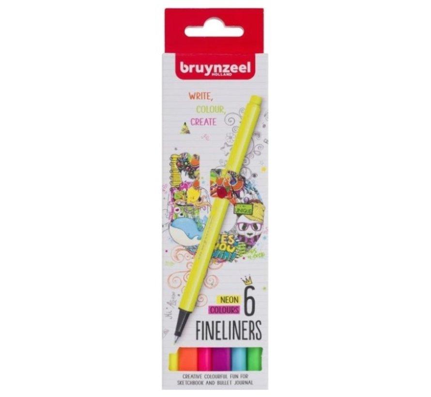 Fineliner 6st - neon kleuren