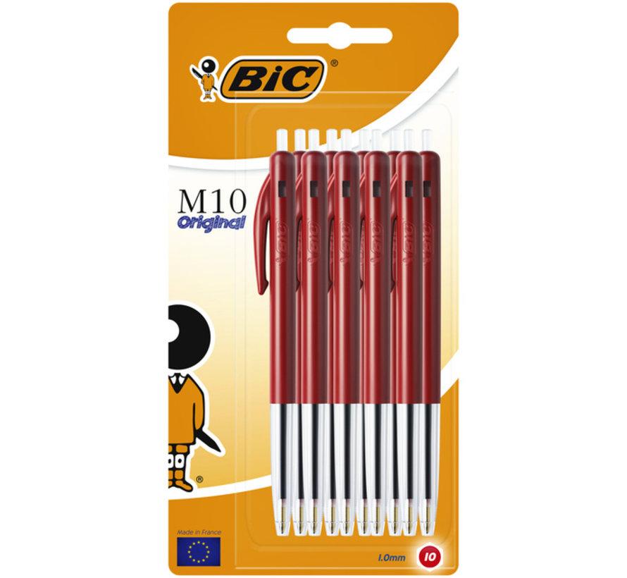 Bic M10 balpennen set - rood 10x