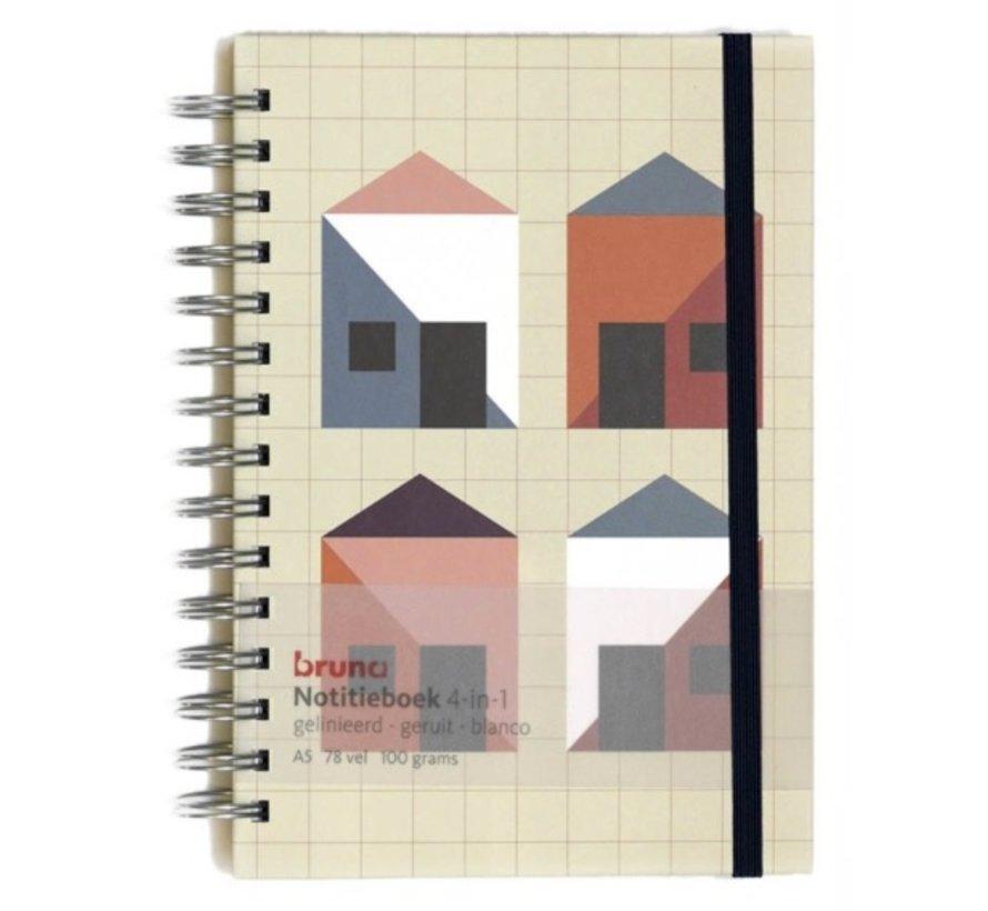 4 in 1 Notitieboek met verschillend, extra dik papier
