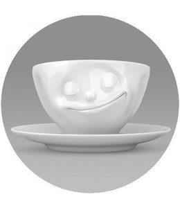 'Tassen' kop en schotel, wit - Geluk