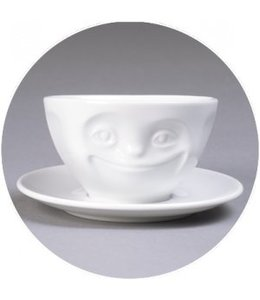 'Tassen' kop en schotel, wit - Glimlach