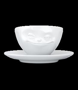 Tassen  'Tassen' kop en schotel, wit - Glimlach - Espresso