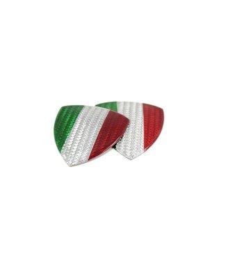 Koshi Group White Carbon Fiber Fender Shield Emblem w/ Italia Flag
