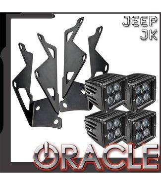 Oracle Lighting ORACLE Jeep JK Dual Light Mounting Pillar Brackets + Lights Combo