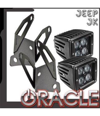 Oracle Lighting ORACLE Jeep JK Single Light Mounting Pillar Brackets + Lights Combo
