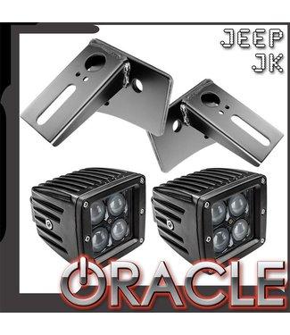 Oracle Lighting ORACLE Jeep JK Lower Windshield Light Mount Brackets + Lights Combo