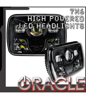 "Oracle Lighting ORACLE 7"" x 6"" 40W Replacement LED Headlight - Black (Pair)"