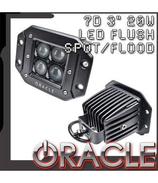 "Oracle Lighting ORACLE Black Series - 7D 3"" 20W Flush LED Square Spot/Flood Light"