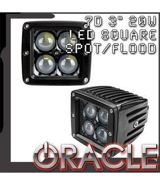 "Oracle Lighting ORACLE Black Series - 7D 3"" 20W LED Square Spot/Flood Light"
