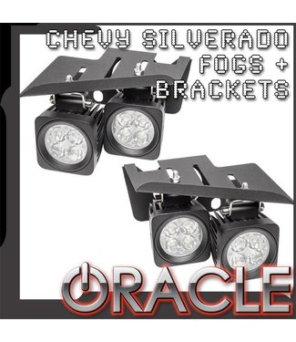 Oracle Lighting 2007-2013 Chevy Silverado LED Fog Light Replacement Brackets + Lights Combo