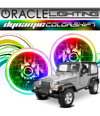 Oracle Lighting 1997-2006 Jeep Wrangler TJ ORACLE Head Light Halo Kit - Dynamic ColorSHIFT