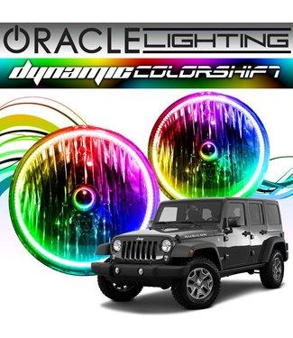 Oracle Lighting 2007-2017 Jeep Wrangler ORACLE Head Light Halo Kit - Dynamic ColorSHIFT