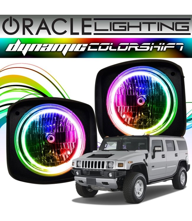 Oracle Lighting 2003-2010 Hummer H2 ORACLE Dynamic ColorSHIFT Head Light Halo Kit