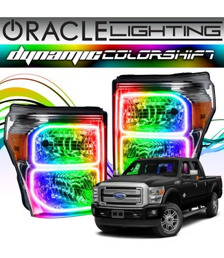 Oracle Lighting 2011-2016 Ford F250/350 ORACLE Dynamic ColorSHIFT Head Light Halo Kit - (Square Ring Design)
