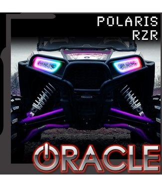 Oracle Lighting 2014-2021 Polaris RZR 900/1000 Turbo ORACLE Dynamic RGB+A Sequential Turn Signal Headlight Halo Kit